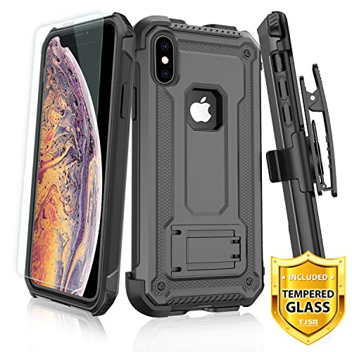 TJS Apple iPhone XR 2018 Case, with [Tempered Glass Screen Protector] 360° Belt Clip Holster Dual Layer Hybrid Shock Absorbing Resist Kickstand Armor Phone Case Cover (Gray) ()