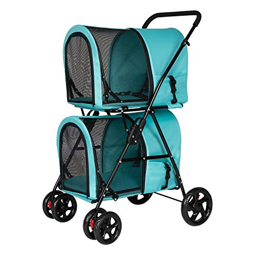 Double Layer Pet Stroller 4 Wheels for Small Medium Dogs and Cats, Large Space Dog Cart with Detachable Carrier Easy One-Click Folding Folding Two-Way Import and Export