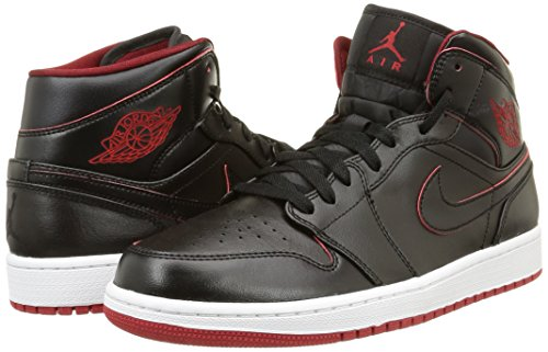 Nike Men's Air Jordan 1 Mid Black/Black/White/Gym Red Basketball Shoe – 10.5 D(M) US