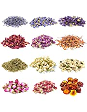 Gibot 12 Pack Natural Dried Flowers Herbs Kit for Candle Resin Jewelry Soap Bath Bombs Making Include Rose Petals,Lavender,Jasmine,Forget-me-not,Lily,Chrysanthemum and More(with Sealing Clip)