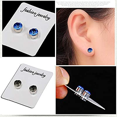 Kangkang 5mm Crystal Magnetic Stud Earring Magnet Nose Ear Lip Stud Non Piercing Tragus Nose Stud 8 Pairs/ Pack (8 Pairs White): Toys & Games