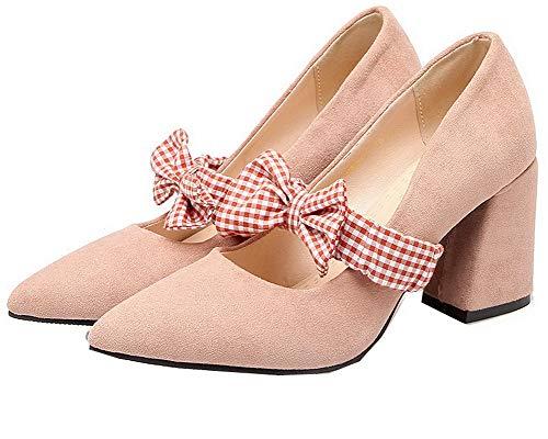 Alto Ballet AgooLar Rosa Flats Plastica Tirare Donna GMMDB006954 Tacco Puro CYtZ1q4tw