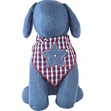 Dog Bandana with Blue Denim Sheriff Star Applique (Medium)