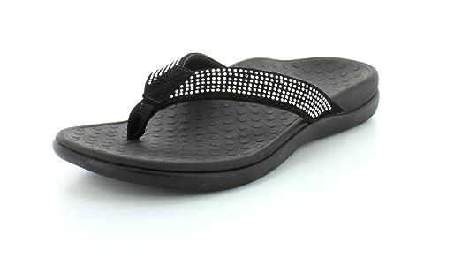Vionic with Orthaheel Technology Womens Tide Rhinestones Black Thong Sandal  - 5