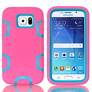 3in1 Rubber and PC Full-body Protective Case Shockproof Cover for Samsung Galaxy S6 ,Blue/Rose
