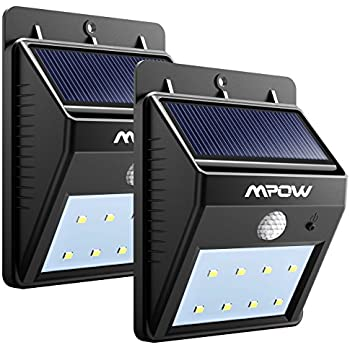 Mpow Solar Lights, 2-Pack 8 LED Bright Solar Powered Security Lights with Motion Sensor Wireless Waterproof Wall Lights for Outdoor Diveway Patio Garden Path Yard Deck