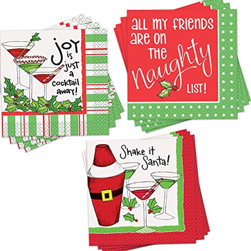 "96-Pack Christmas Themed Cocktail Napkins - Disposable Paper Party Napkins in 3 Assorted Christmas Holidays Designs - Perfect Party Supplies for Christmas Party, Measures: 5"" x 5"", 10"" x 10"" Unfolded"