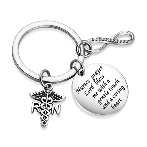 Zuo Bao Nurse's Prayer Necklace with RN Charm,Gifts for Nurses, Nursing Graduation, Medical Jewelry (Keychain)