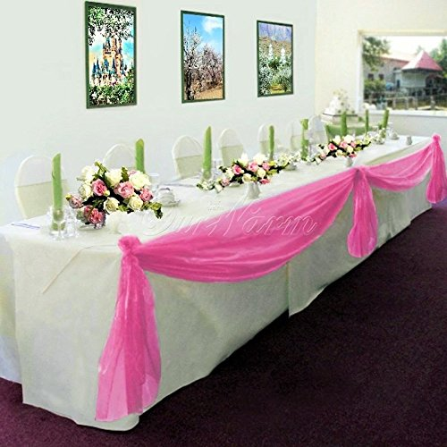 (GorgeousHome 1 Hot Pink Swag Valance Scarf For Wedding Table Chair Window Wall Church Decor Pole Voile Fabric Size (6 YARD) 216 Inches Long)