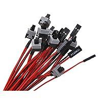 DKEY Set 2 Pezzi Pulsate accensione PC Power Button con cavo 50 cm e connettore 2 pin per cheda madre