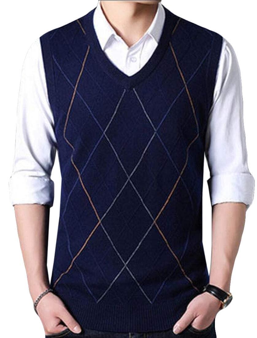 omniscient Mens Casual Slim Fit Solid V-Neck Lightweight Sweater Vest