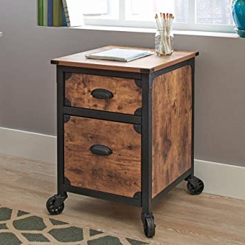 Rustic Country File Cabinet - Weathered Pine Finish
