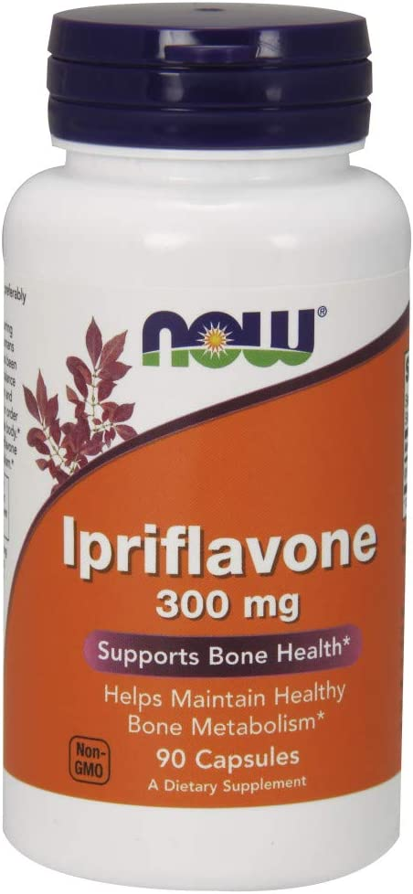 NOW Supplements, Ipriflavone 300 mg, Healthy Bone Metabolism*, Supports Bone Health*, 90 Capsules