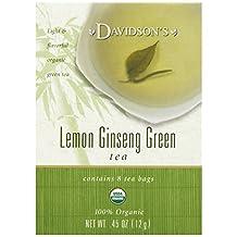Davidson's Tea Lemon Ginseng Green, 8-Count Tea Bags (Pack of 12)
