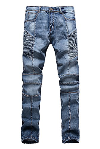 Men's fashion Distressed Slim Stretchy Jeans Zip Fly Stained Biker Pants Blue (34, Blue)