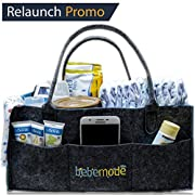 Bebemode - Baby Diaper Caddy | Large Portable Foldable Storage Bin | Diaper Stacker Tote Bag | Nursery Organizer Bag for Changes, Wipes, Bottles, Toys | Neutral Baby Shower Registry Gift
