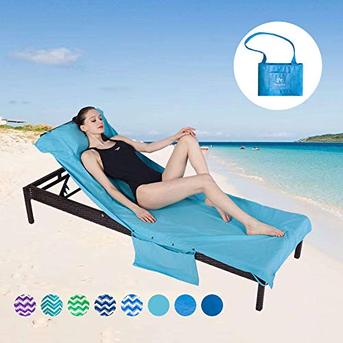 Runpilot Lounge Chair Cover Beach Towel with Pillow,SwimmingPool Lounge Chair Cover with Pockets Holidays Sunbathing Quick Drying Terry Towels (Lounge Pillows Chair)