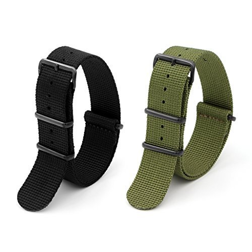 Adebena 2PCS 22mm Ballistic Nylon Watch Band Replacement Nato Strap with Stainless Steel Buckle