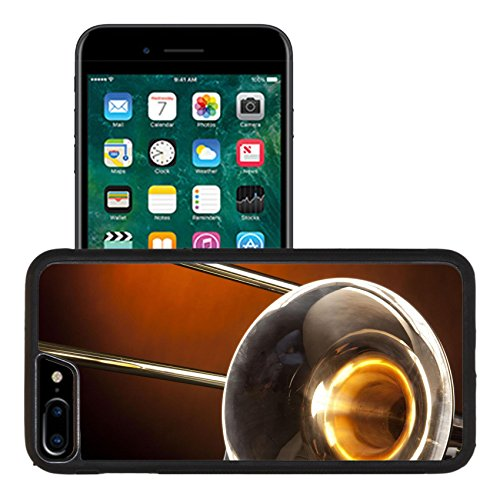 Liili Apple iPhone 7 plus iPhone 8 plus Aluminum Backplate Bumper Snap iphone7plus/8plus Case A gold brass trombone wind music instrument isolated against gold spotlight Photo ()