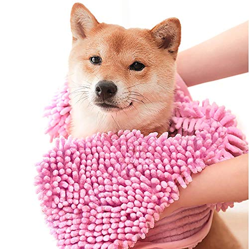 Dog Towel - Microfiber Super Shammy with Hand Pockets, Ultra Absorbent Quick Dry Pet Bath Towels for Small, Medium, Large Dogs and Cats (Medium, 24'' x 14'', Pink)