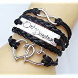 Handmade black I love One Direction 1D infinity charm bracelets
