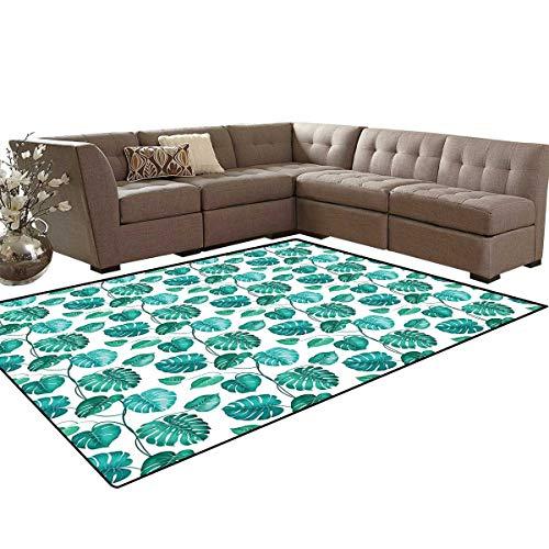 Green Leaf Bath Mats for Floors Tropical Palm Tree Leaves Exotic Hawaiian Foliage Rainforest Jungle Floor Mat Pattern 5'x7' Sea Green Teal White