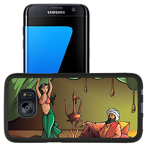 Luxlady Premium Samsung Galaxy S7 Edge Aluminum Backplate Bumper Snap Case IMAGE ID: 37189595 Eastern beautiful girl dancing for sultan vector illustration