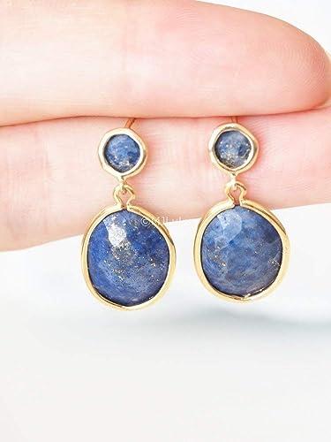 2d01bcafbdf87c Amazon.com: Cobalt Blue Lapis Lazuli Stone Earrings: Handmade