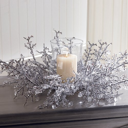 Ice Crystal Centerpiece with Glass Globe Christmas Decoration