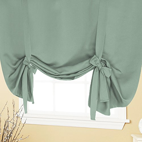 H.VERSAILTEX Bedroom Blackout Curtains All Season Thermal Insulated Solid Rod Pocket Drape Energy Saving Privacy Protection Tie Up Shade-(Sage Color) 42