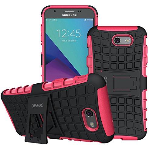 OEAGO Samsung Galaxy J7 V J7V 1st Gen 2017 Case, Galaxy J7 Prime Case, Galaxy J7 Perx Case, Galaxy J7 2017 Case, Galaxy J7 Sky Pro Case, Halo Case, Tough Rugged Dual Layer Case Kickstand - Hot Pink