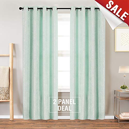 Chenille Curtain Set (jinchan Luxry Blue Chenille Velvet Curtains for Living Room, Thermal Insulated Grommet Window Curtain Set for Bedroom(2 Panels, 84 Inch))