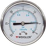 "Weksler Liquid Filled Gauge with Stainless Steel Case, 30""/0/vac. Range, +/-3-2-3% Accuracy"