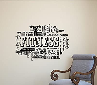 Fitness Wall Decal Gym Word Cloud Workout Motivational Inspirational Quote Sports Gift Stencil Vinyl Sticker Home Bedroom Decor Art Poster Mural Custom Print 448