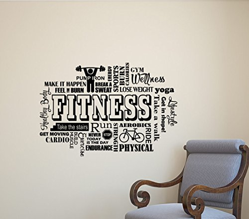 Julia Cruz Fitness Wall Decal Gym Word Cloud Workout Motivational Inspirational Quote Sports Gift Stencil Vinyl Sticker Home Bedroom Decor Art Poster Mural Custom Print 448