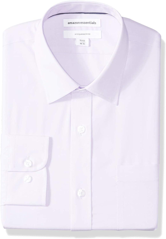 Essentials Mens Slim-Fit Wrinkle-Resistant Long-Sleeve Solid Dress Shirt