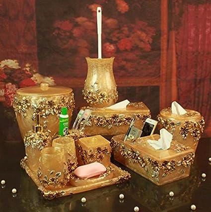 VU * LK baño amenity Kit Resina Romántico Señor Casa Amarillo Juego de 12