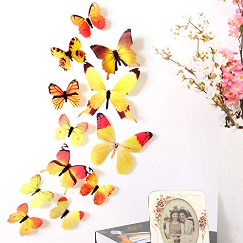 12PCS 3D PVC Magnet Butterflies DIY Wall Sticker Home Decor Yellow - 9