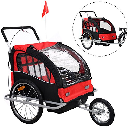 - 2 in 1 Double Child Baby Bike Trailer Bicycle Carrier Jogger Stroller