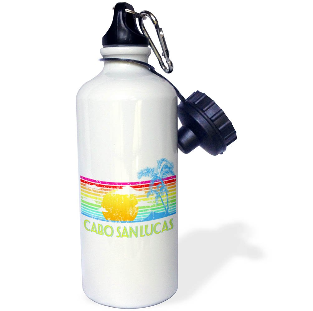 wb/_281502/_1 21 oz Sports Water Bottle 3dRose Macdonald Creative Studios Cabo Vintage Cabo San Lucas Tropical Sunset and Palm Tree