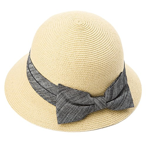 Packable Straw Uv SPF Sun Hat Derby Cloche Bow for Women Fedora Summer Beach Beige 56-58cm