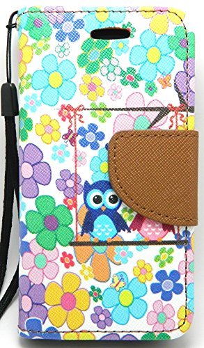 iPhone 5C Case, Wallet Credit Card ID Holder Folio Book Type Kickstand View Hybrid for Apple iPhone 5C by Case Loca (Owl Flowers)