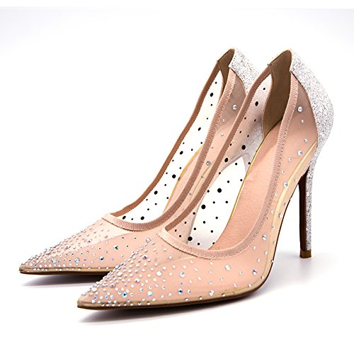 Rongzhi Womens Rhinestone High Heels Pumps Mesh Stilettos Slip On Pointed Dress Wedding Heels Shoes Pointed On Toe B07D5ZD1VH 7.5 B(M) US|Silver 8d940b