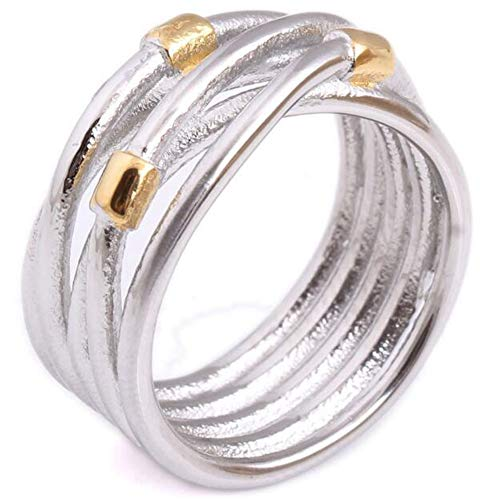 Stainless Steel Two Tone Ring - Jude Jewelers Retro Vintage Stainless Steel Silver Gold Two Tone Waved Braided Wrap Statement Ring (Silver Gold, 7)