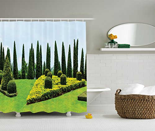 Evergreen Topiary (Ambesonne Country Home Decor Collection, Classic Formal Designed Garden with Evergreen Shrubs Boxwood Topiaries Picture, Polyester Fabric Bathroom Shower Curtain, 84 Inches Extra Long, Green Yellow)