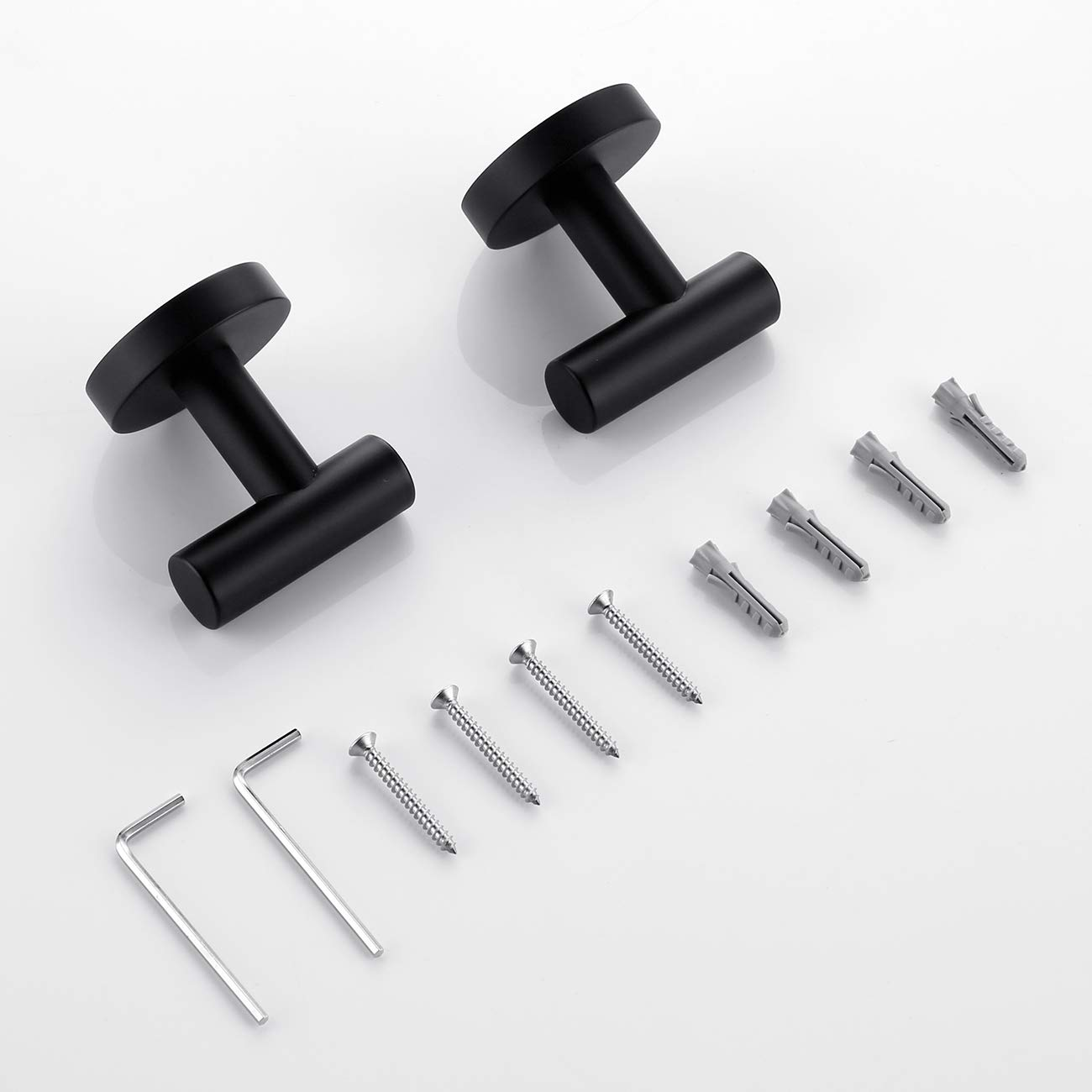 Hoooh Matte Black Coat Hook Towel/Robe Clothes Hook for Bath Kitchen Garage SUS 304 Stainless Steel Wall Mounted, 2 Pack, B100-BK-P2 by Hoooh (Image #9)