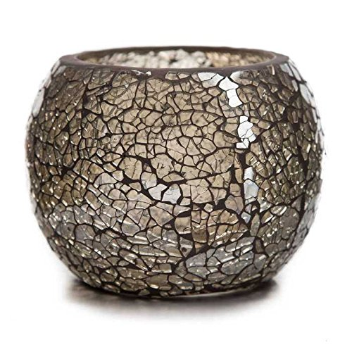 Champagne Beige-Gray Mosaic Glass Roly Poly Votive Candle Ho