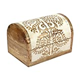 Wooden Treasure Chest Keepsake Trinket Paisley Design Carved Jewelry Box for Men Women Shabby Chic Decor - Aheli