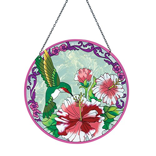Round Hummingbird Suncatcher Window Multi Colored