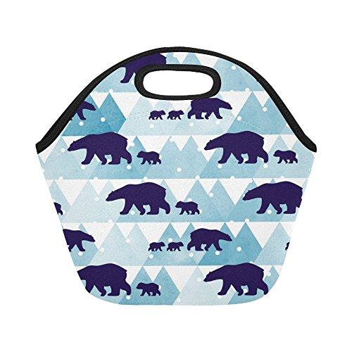 InterestPrint Winter Polar Bear Reusable Insulated Neoprene Lunch Tote Bag Cooler 11.93